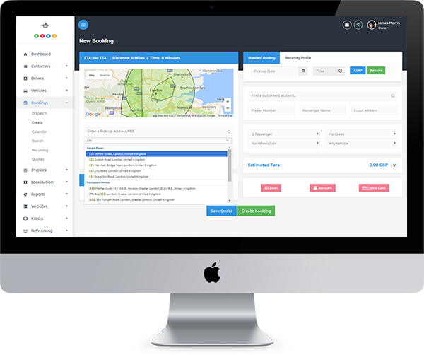 Taxi, Cab, Fleet Management Dispatch System Booking Form with Google, Foursquare, and Postcode Search