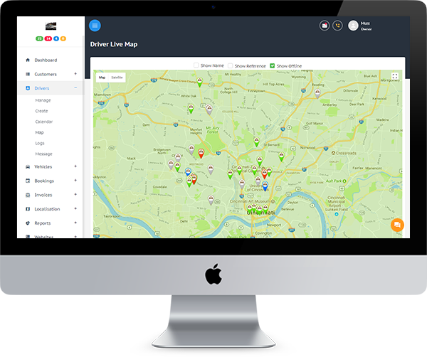 Taxi, Cab, Fleet Management Dispatch System Live Driver Map